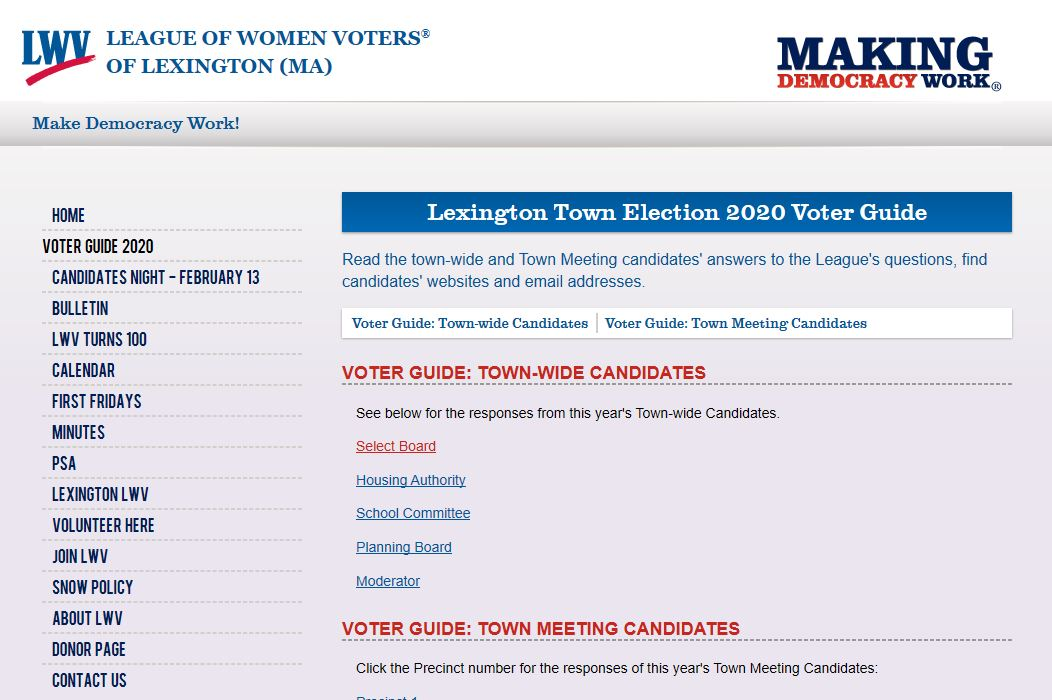 LWV candidates screenshot